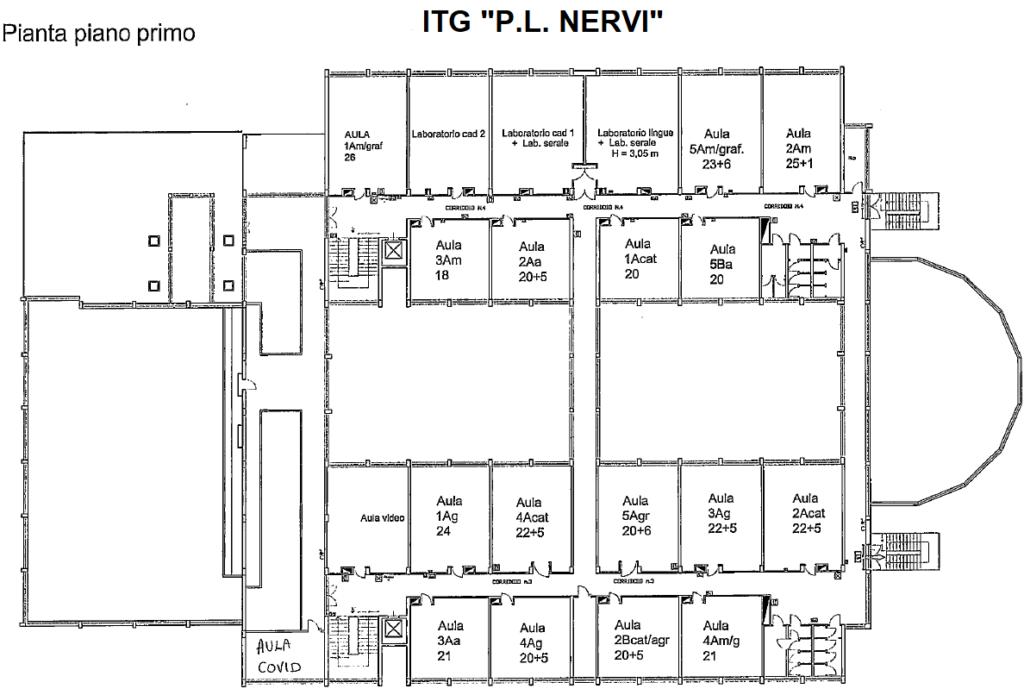 ITG - Pianta primo piano con classi 2020-21